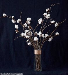 Craftological - Old: The Faux Flower Series: The Cotton Plant Centerpiece Cotton Stalks, Plant Centerpieces, Rama Seca, In Loco, Plant Crafts, Nature Crafts, Cotton Plant, Save On Crafts, Faux Flowers