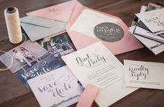 Paul & Becky's Modern Coral + Gray Wedding Invitations | Becky King (designer), Katie Slater (photographer), Mercurio Brothers (letterpress printing)