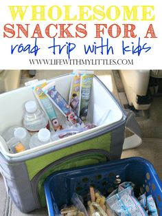 Here are great wholesome snacks for a road trip with kids. A great list of what to pack that will help you make better choices on the road and save money!