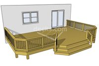 This deck mixes things up with an angled front face and a central stair that follows the geometry of the undulating perimeter. This deck presents an organic representation of shape and form. #timbertech #deck