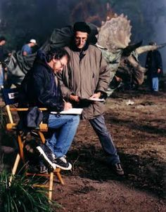 Steven Spielberg and David Koepp on set of Lost World: Jurassic Park