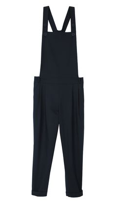 Overalls get a chic twist in tailored wool. Edie Tropical Wool Jumpsuit.