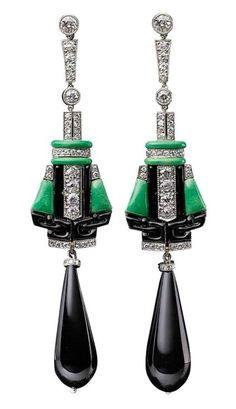 Art Déco - Pendants d'oreilles - Platine, Onyx et Diamants