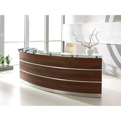 Dark Maple Effect Curved Wood Reception/Lobby Desk with Metal Detail
