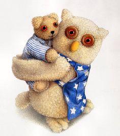 ©Jane Hissey What Beautiful Eyes! Owl Bird, Children's Book Illustration, Book Illustrations, Forest Animals, Baby Crafts, Handmade Art, Pet Toys, Childrens Books, Dinosaur Stuffed Animal