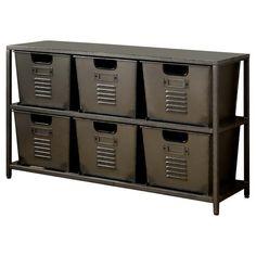 Shop Furniture of America Copern Industrial Grey Metal Storage Shelf - On Sale - Overstock - 15289762 Locker Furniture, Black Furniture, Metal Furniture, Furniture Vintage, Painted Furniture, Metal Storage Shelves, Storage Bins, Storage Spaces, Houses