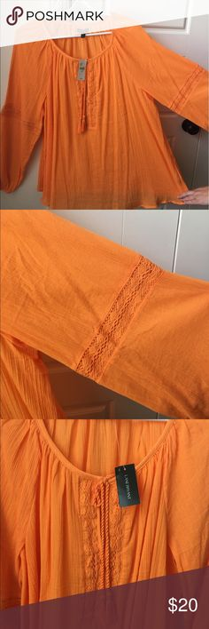 Lane Bryant orange sheer blouse Brand new with tag. Perfect for dark wash jeans or shorts. Could also be used for a swim cover up. Size is 18/20. Lane Bryant Tops Blouses
