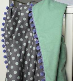 Gray and Mint Polka Dot Baby Blanket with Lilac Pom Pom Trim