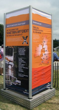 Tower banner frame. Using printed PVC banners #event branding at discountdisplays #outdoor event
