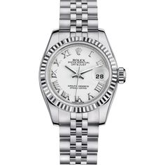 Rolex Lady Datejust 26 mm with 18K white gold fluted bezel and jubilee band.