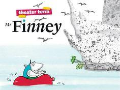 kindertheater - mr Finney Getekend met een foto erin; simpele typografische compositie