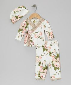 Take a look at this White Bridge Hampton Floral Organic Wrap Top & Pants - Infant by Barn Organics on #zulily today!