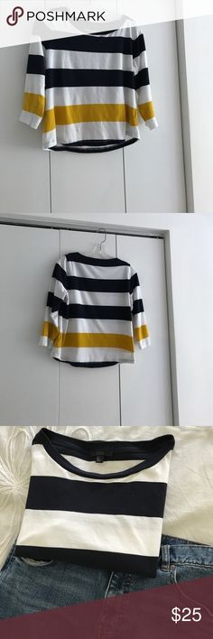 COS 3/4 sleeve knit top COS bracelet sleeve knit top with navy white and gold stripes, size S. Great condition COS Tops Tees - Long Sleeve