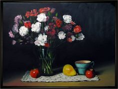 Carnations - oil on canvas