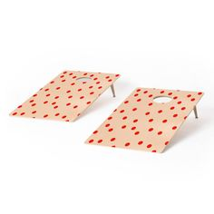 Red Vintage Dots Cornhole Set