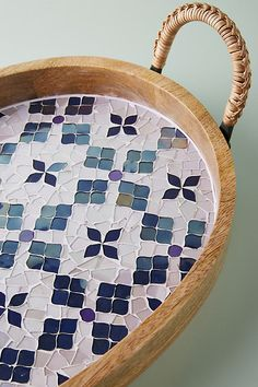 Mosaic Decorative Tray by Anthropologie in Purple, Decor Mosaic Tray, Mosaic Tile Art, Mosaic Art Projects, Mosaic Crafts, Mosaic Designs, Mosaic Patterns, Mosaic Furniture, Idee Diy, Tropical Decor