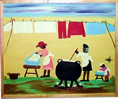 """""""Wash Day"""" by Clementine Hunter I have a small print of this painting. I LOVE her work! African American Artist, American Artists, Clementine Hunter, New Orleans Museums, Primitive Painting, Louisiana Art, Berthe Morisot, Grant Wood, Naive Art"""