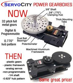 ServoCity Power Gearboxes - then vs. now ‪#‎throwbackthursday‬ #robotics…