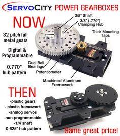 ServoCity Power Gearboxes - then vs. now #throwbackthursday #robotics #servocity  #alwaysmovingforward  Making things better for the same great price...  http://www.servocity.com/html/robotzone_servos.html