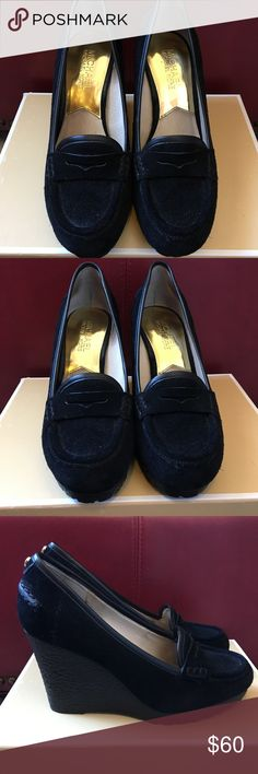 Michael Kors Rory Loafer shoes Black suede. Leather upper, rubber outsole. Gently used. Super cute for fall! Soles show no wear, mostly worn indoors...original box included. MICHAEL Michael Kors Shoes Flats & Loafers