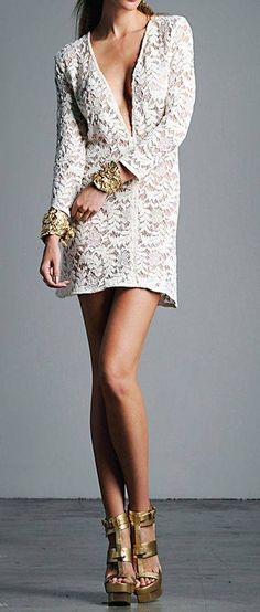 Plunge Lace Dress. Love the accessories too!