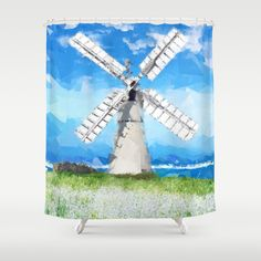 Windmill Shower Curtain by Vadim Cherniy - $68.00