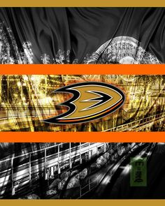 Anaheim Ducks Hockey Poster, Anaheim Ducks in front of skyline, Ducks – McQDesign