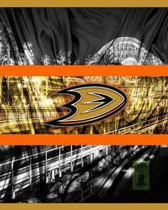 Anaheim Ducks Hockey Poster, Anaheim Ducks in front of skyline, Ducks – McQDesign