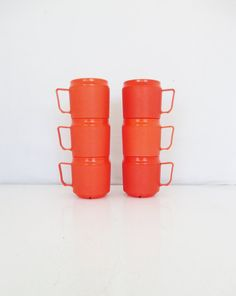 Stackable Plastic Mugs Set of 6 Vintage Therma Mug by Therma Tray Stackable Coffee Mugs Vintage Orange Plastic Cup Retro Kitchen