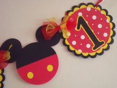 """Free Banner With 15 Dollar Purchase Mickey Mouse Theme """"I Am 1"""" Banner, Personalized  Banner, Birthday Banner, Red, Yellow and Black Banner on Etsy, $14.00"""