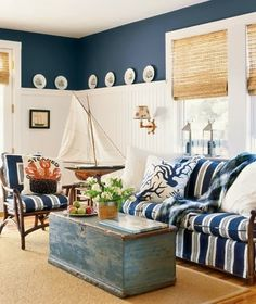 navy blue and beadboard wainscoting