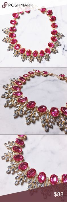 Jewelry | Hot Pink leaves Statement necklace This hot pink necklace is gorgeous!! Only one available // Final photo shows coral necklace for scale on body only. Listing is for hot pink jeweled necklace shown in first 3 photos only Karis' Kloset Jewelry Necklaces