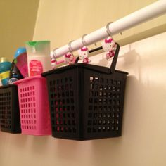 I got this idea on pinterest and did it today! Best shower organizer EVER!!