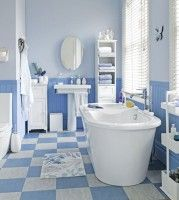 Blue And White Bathroom With Check Floor And Freestanding Bath