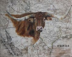 "Longhorn on Vintage Texas Map 16"" x 20"". By Patty Pendergast"