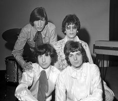 March 3, 1967. Syd Barrett, top right, with other members of Pink Floyd, top left, Roger Waters, Nick Mason, left, and Rick Wright.