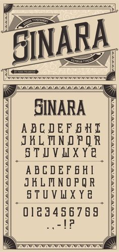 Sinara typeface is a victorian vintage style typeface, perfect for your vintage word art typography or logo. TTF & OTF. Download: http://graphicriver.net/item/sinara-font/9958057?ref=ksioks
