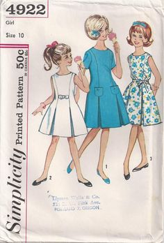 Princess Line Dress With Round Neckline Inverted Pleats Girls Size 10 Childrens Sewing Pattern Vintage Simplicity 4922 by Rosie247 on Etsy https://www.etsy.com/listing/227785131/princess-line-dress-with-round-neckline