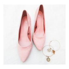 """• H&M Pink Heels • Pretty in pink suede heels, a bit preloved with some small dirt marks. Will wash out. About 3"""" heels. Smoke free home. True to size Shoes Heels"""