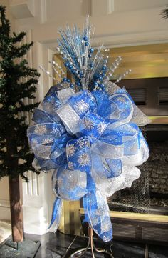 Christmas Tree Topper Bow, Ready to Ship Large, Frozen Colors, Royal Blue, Silver Mesh, Snow Flake, Wreath Bow, Ribbon, Frozen Holiday Decor