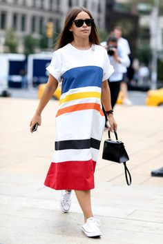How to Style Your Sneakers in Summer - bold summer stripes and Converse sneakers