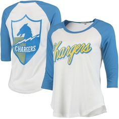 8c1fea22d Los Angeles Chargers Women s Play Action Vintage 3 4-Sleeve Raglan T-Shirt  - White Powder Blue