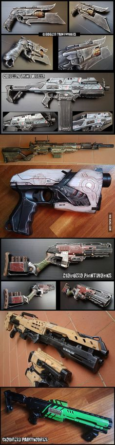So my friend makes working Destiny/MassEffect/Warhammer replica weapons from Nerf guns for a living. (Good friend to have) Steampunk Weapons, Style Steampunk, Sci Fi Weapons, Concept Weapons, Weapons Guns, Fantasy Weapons, Steampunk Gadgets, Fantasy Armor, Nerf Mod