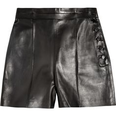 Valentino High-rise leather shorts ($2,620) ❤ liked on Polyvore featuring shorts, valentino, pants, high rise shorts, high waisted leather shorts, highwaisted shorts, black highwaisted shorts and leather shorts