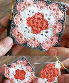 Crochet Coaster Pattern, Crochet Motif Patterns, Christmas Crochet Patterns, Granny Square Crochet Pattern, Crochet Chart, Crochet Squares, Baby Afghan Crochet, Crochet Instructions, Couture