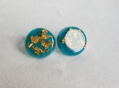 Teal Round Resin Earrings - Handmade Gold Flakes Resin Jewelry Accessories