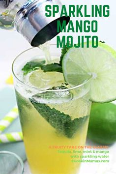 A refreshing take on the classic mojito by adding a little sparkle. Traditional tequila lime and mint leaves are sweetened with mango juice & livened up with sparkling water. The perfect remedy for spring & summer. Summer Cocktails, Cocktail Drinks, Fun Drinks, Cocktail Recipes, Alcoholic Drinks, Beverages, Lillet Berry, Mango Mojito, Alcohol Drink Recipes