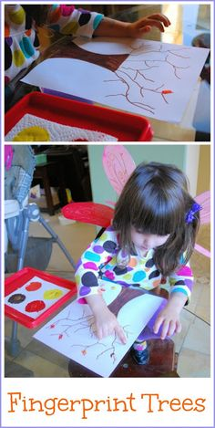 Fall Fingerprint Trees - Fall Crafts for Kids. A hands on art activity that celebrates the season!
