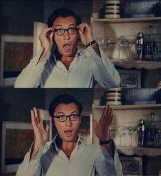 Those glasses and that face... Pretty much sum up my love for Jude Law. Plus, love that movie!