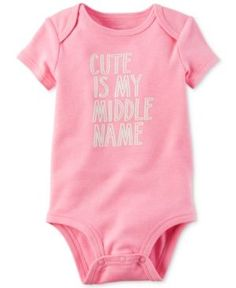 Carter's Cute Is My Middle Name Bodysuit, Baby Girls (0-24 months) - Pink 12 months